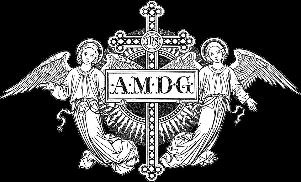 Ángeles con el texto «Ad Majorem Dei Gloriam»
