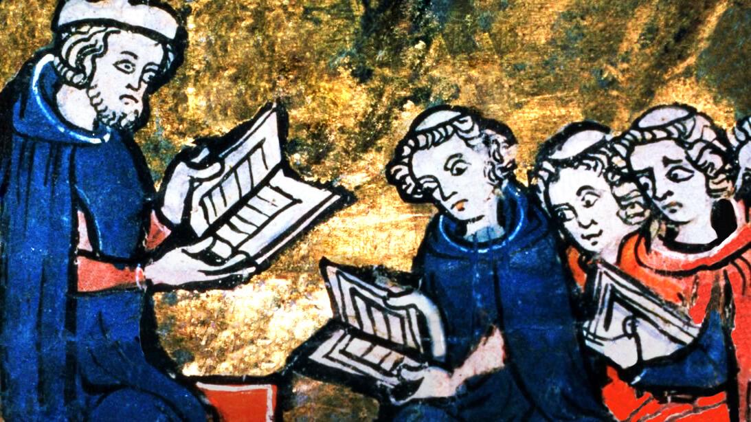 Ilustración de un manuscrito de un maestro con sus alumnos