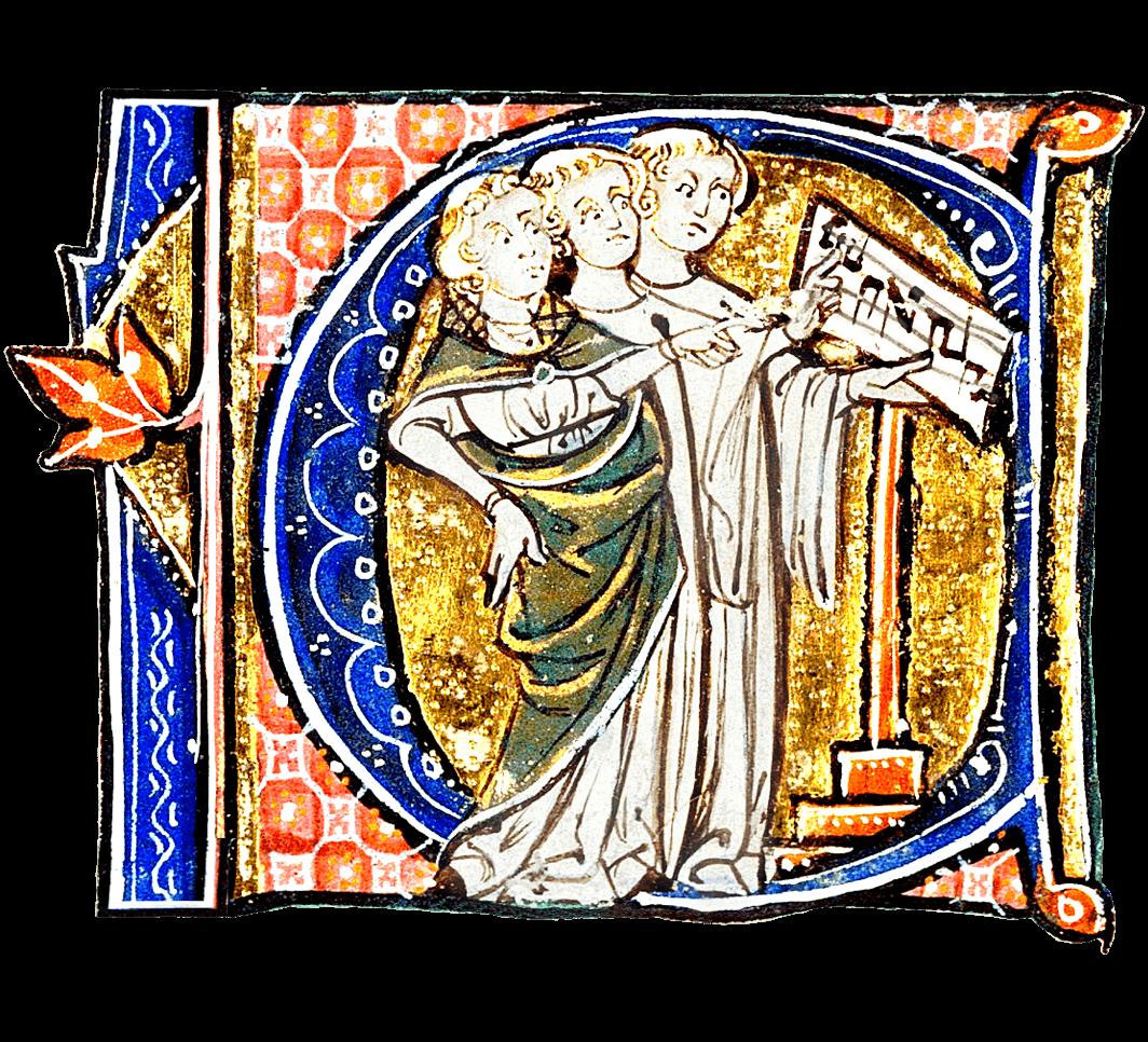Letra capital C adornada con cantores gregorianos
