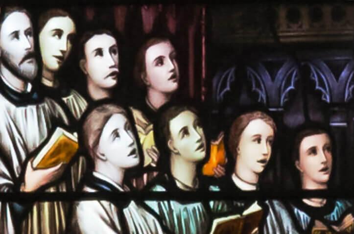 Vidriera de cantores litúrgicos